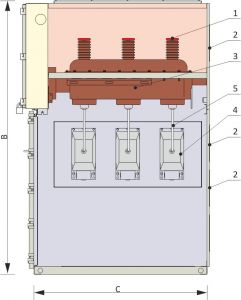 Front view and cross-section of the measuring cubicle