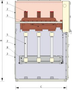 Front view and cross-section of the switch disconector cubicle
