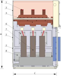 Front view and cross-section of the circuit breaker cubicle