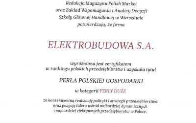 ELEKTROBUDOWA honoured with the PEARL OF THE POLIS